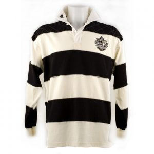 Traditional Craft Limited Guinness Rugby Shirt with Brewed in Dublin Crest Badge, Cream and Black Stripes G3039 ExclusivelyIrish.com
