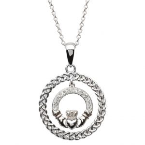 Shanore Celtic Claddagh Necklace Encrusted With Swarovski Crystal SW61 ExclusivelyIrish.com