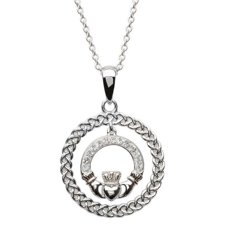 Celtic claddagh necklace encrusted with swarovski crystal irish celtic claddagh necklace encrusted with swaovski crystal aloadofball Image collections