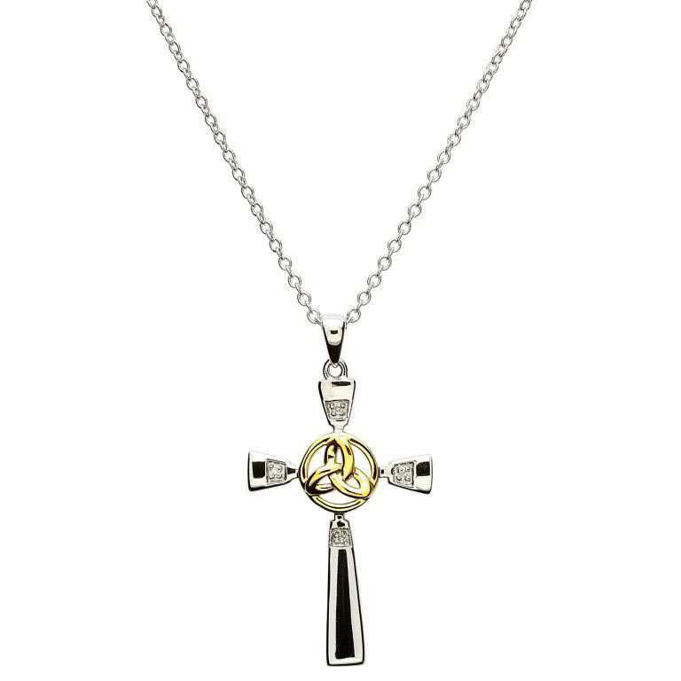 Celtic Cross Pendant With Gold Plate Trinity Knot Shanore