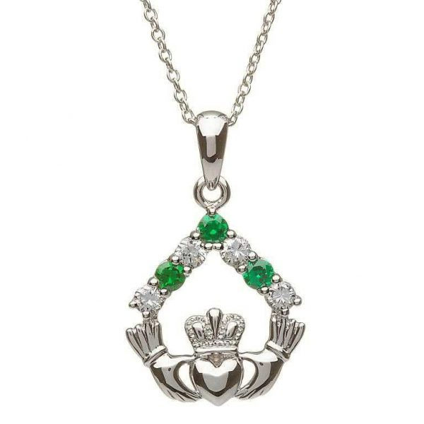 Shanore Silver Claddagh Stone Set Necklace SP2049 ExclusivelyIrish.com