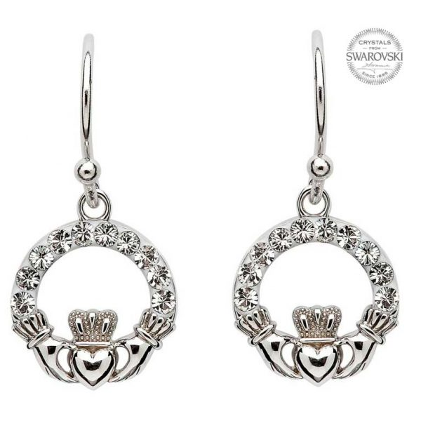 Shanore Claddagh Earrings Embellished with Swarovski Crystals SW5 ExclusivelyIrish.com