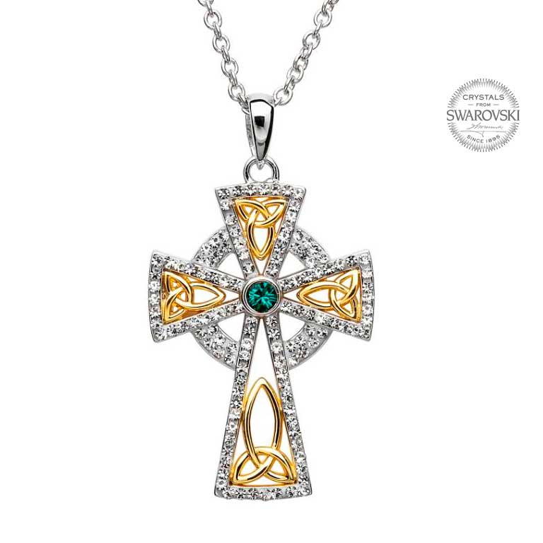 Trinity gold plated celtic cross pendant embellished with swarovski trinity gold plated celtic cross pendant embellished with swarovski crystals aloadofball Images