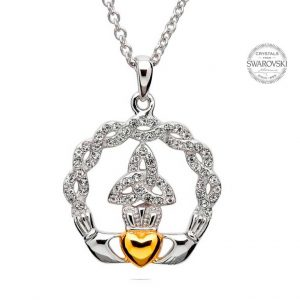 Shanore Claddagh Trinity Necklace Embellished with Swarovski Crystals SW19 ExclusivelyIrish.com