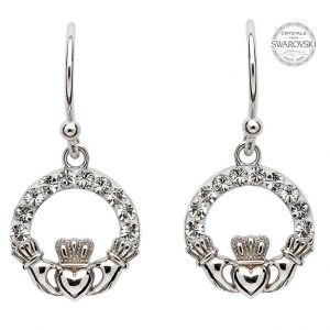 Shanore Claddagh Earrings Adorned with Swarovski Crystals SW48 ExclusivelyIrish.com