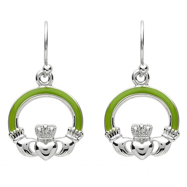 Platinum Plated Claddagh Earrings PP2 ExclusivelyIrish.com