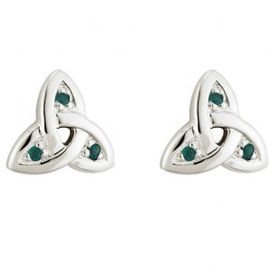 Solvar 14K White Gold and Emerald Trinity Knot Stud Earrings S3007 ExclusivelyIrish.com