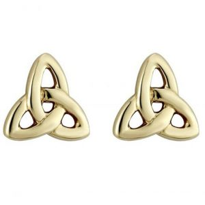 Solvar Gold Plated Trinity Knot Stud Earrings S3063 ExclusivelyIrish.com