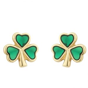 Solvar Gold Plated Enamel Shamrock Stud Earrings S3110 ExclusivelyIrish.com