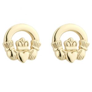 Solvar Gold Plated Claddagh Stud Earrings S3215 ExclusivelyIrish.com