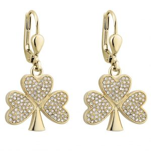 Solvar Gold Plated Shamrock Drop Earrings S33692G ExclusivelyIrish.com