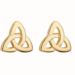 Solvar Gold Plated Trinity Knot Stud Earrings S3587 ExclusivelyIrish.com