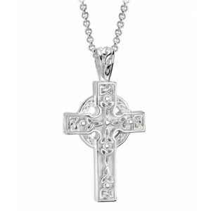 Solvar Sterling Silver Trinity Knot Celtic Cross Necklace S4795 ExclusivelyIrish.com
