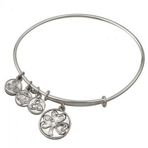 Solvar Antique Rhodium Shamrock Charm Bangle S5750/S ExclusivelyIrish.com
