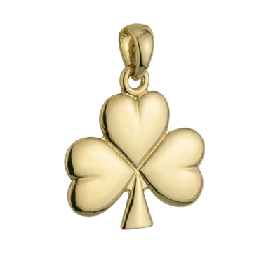 Solvar 14K Small Shiny Shamrock Charm S8134 ExclusivelyIrish.com