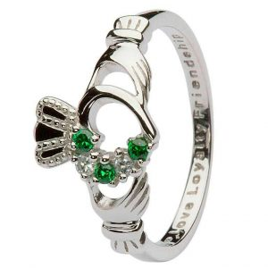 Claddagh Green & Silver Cubic Zirconia Heart Set Ring SL75 ExclusivelyIrish.com