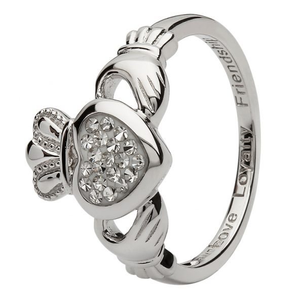 Sterling Silver White Crystal Claddagh Ring SW85 ExclusivelyIrish.com