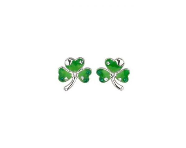 S3101 LUCKY ENAMEL & CRYSTAL SHAMROCK STUDS exclusivelyirish.com