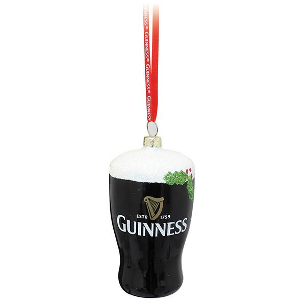 GNS5184 Guinness Pint Hanging Holiday Decoration exclusivelyirish.com