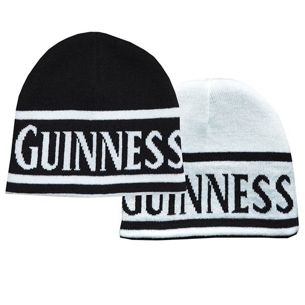 Traditional Craft Limited Guinness Reversible Black And White Beanie Hat With Guinness Text G6202 ExclusivelyIrish.com
