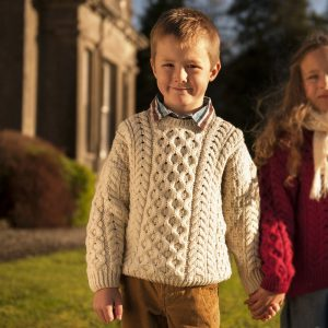 Aran Woollen Mills Childs Irish Merino Wool Crew Cut Sweater ExclusivelyIrish.com