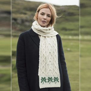 "Aran Woollen Mills Irish Merino Wool Cable Knit Scarf 72"" with Shamrocks ExclusivelyIrish.com"