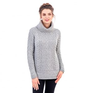Saol Ladies Turtleneck Ribbed Cable Knit Sweater AWL118 ExclusivelyIrish.com