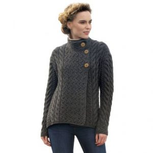 Aran Woollen Mills Asymmetrical Irish Multi Cable Wool Cardigan B840572 Slate Gray Front ExclusivelyIrish.com