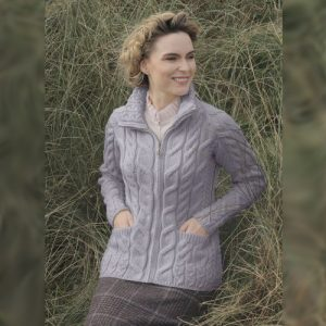 Aran Woollen Mills Irish Shaped Zipper Wool Cardigan with Mock Turtleneck B841358 Ocean Grey ExclusivelyIrish.com
