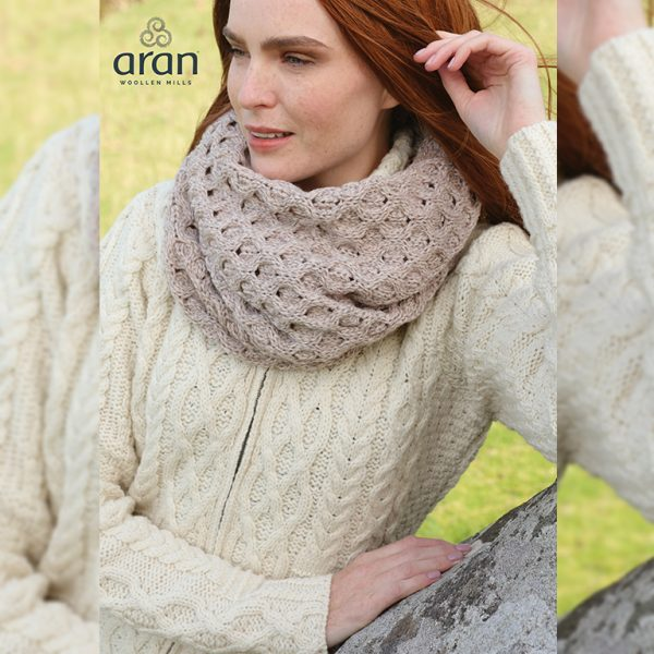 Aran Woollen Mills Merino Wool Honeycomb Irish Snood Scarf B873077 ExclusivelyIrish.com