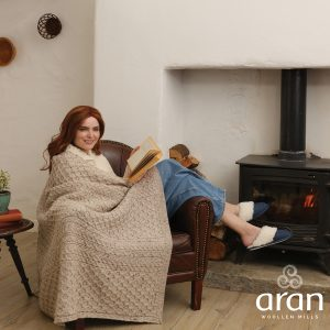Aran Woollen Mills Classic Merino Honeycomb Irish Aran Throw Blanket B888033 ExclusivelyIrish.com