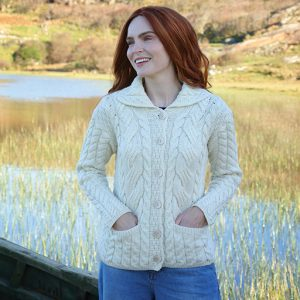 Aran Woollen Mills Ladies Buttoned Cabled Cardigan-L B940 ExclusivelyIrish.com