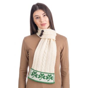 Saol St Patrick's Day Ladies Loop Aran Wool Scarf ML197100 ExclusivelyIrish.com
