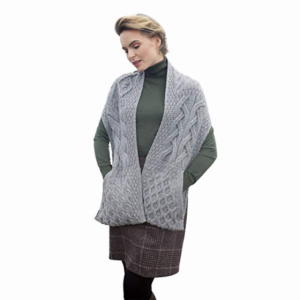 SuperSoft Merino Button Pocket Scarf Slate Grey Front B684572-ONE ExclusivelyIrish.com