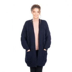 Saol Ladies Long Open Front Drape Cardigan ExclusivelyIrish.com