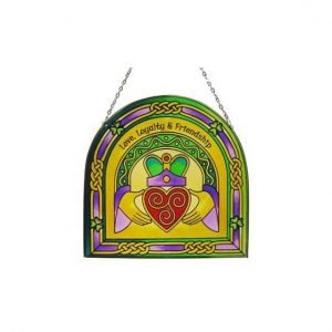 CL-0072-57 Claddagh Ring Arch 16cm Stained Glass exclusivelyirish.com
