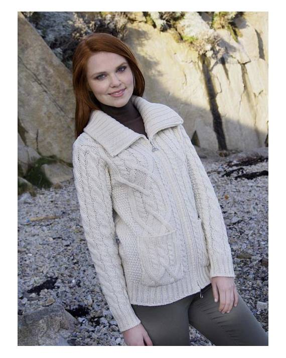 1cfe52836a Merino Wool Ladies Aran Sweater with Pockets