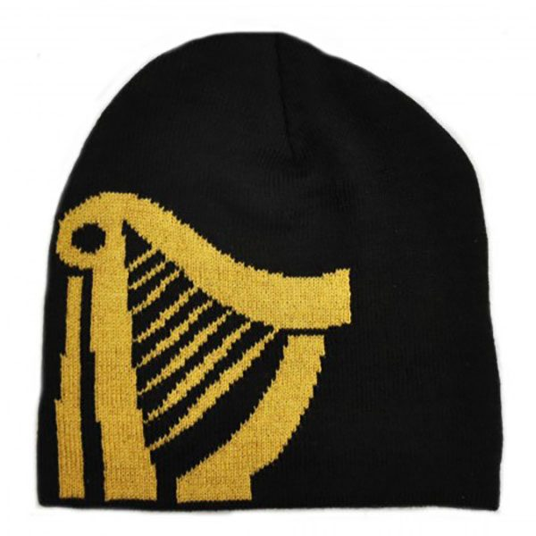 Guinness Knitted Beanie Hat With Large Gold Harp  08d86ab1077