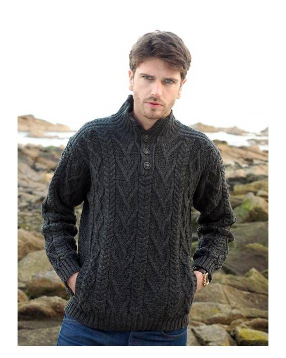 f5f91218d Irish Merino Wool Traditional Button Neck Aran Sweater