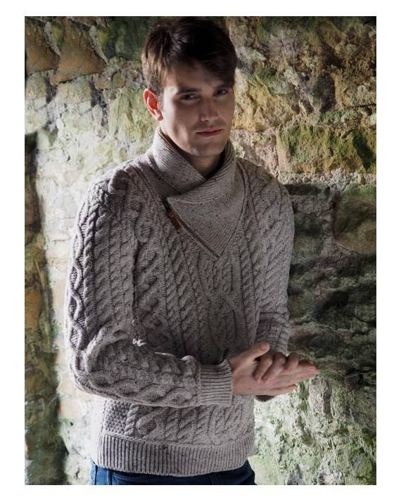 d1a52f95a1 Irish Shawl Wool Sweater With Zip Neck | Irish Central Shop