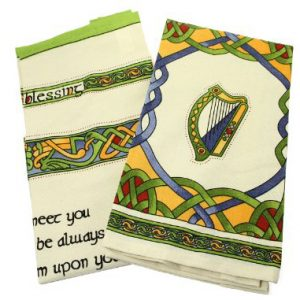 CL-73-40 Royal Tara 2 Tea Towels - Irish Blessing & Emblems - Irish Weave ExclusivelyIrish.com