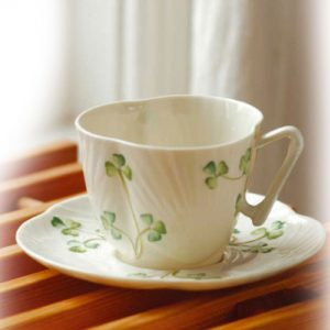 Belleek Classic Harp Shamrock Teacup & Saucer B0242 ExclusivelyIrish.com