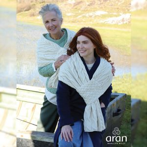 Aran Woollen Mills Pull Through SuperSoft Merino Wool Cable Knit Shawl B681367-ONE ExclusivelyIrish.com