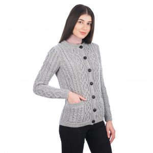Saol Ladies Button Cardigan ML115Grey Side ExclusivelyIrish.com