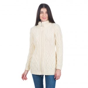 Saol Cable Cardigan With Zipper ML142100 Natural Front ExclusivelyIrish.com