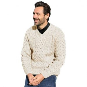 Men's V-Neck Sweater B736 Natural White ExclusivelyIrish.com