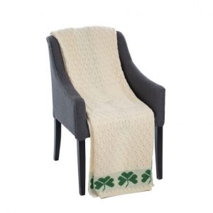 SA962-283-OS Shamrock Cable Stitch Aran Throw ExclusivelyIrish.com