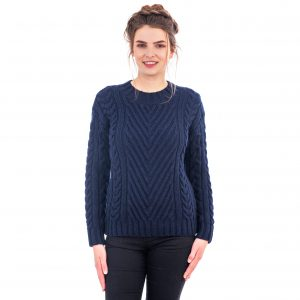 SAOL Ladies Ribbed Cable Sweater ML112 ExclusivelyIrish.com