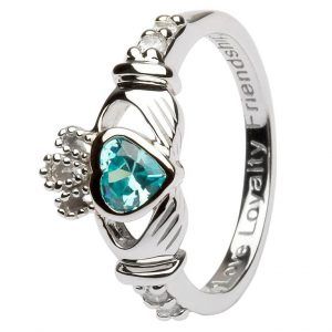 Claddagh March Birthstone Ring SL90AQ ExclusivelyIrish.com