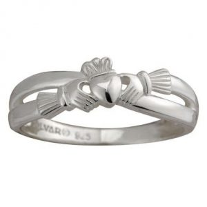 Solvar Sterling Silver Claddagh Ring with Celtic Weaves S2750 ExclusivelyIrish.com